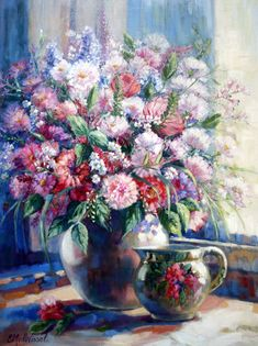 Vase Of Flowers (Still Life) - Edith van der Wissel