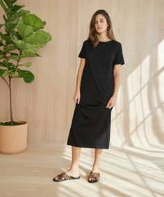 0a007e96db Merino T-Shirt Dress - Black. Jenni Kayne