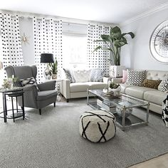 Home Tour Summer Home Tour by with Rugs USA's Sierra Paddle rug!Summer Home Tour by with Rugs USA's Sierra Paddle rug! Living Room White, White Rooms, Living Room Grey, Living Room Interior, Home Living Room, Living Room Furniture, Living Room Designs, Black White And Grey Living Room, Small Living