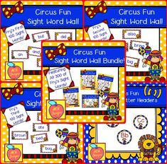 This bundle features all 300 of Fry's sight words! 148 pages of circus themed word wall posters to brighten your classroom!  My Circus Fun Sight Word Wall Bundle includes: All 300 Fry sight words Circus themed word wall letter headers