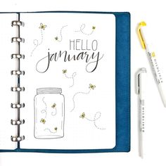 Bullet journal monthly cover page, January cover page, fireflies drawing, fireflies in a jar drawing.   @thedoodleplanner