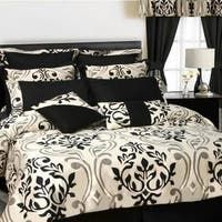 Shop Gracewood Hollow Maqqari Dark Blue 11-piece Bed in a Bag Comforter Set - On Sale - Overstock - 19972935 - Queen Teal Comforter, Damask Bedding, White Bedding, Online Bedding Stores, White Sheets, Iron Furniture, Bed In A Bag, Queen Comforter Sets, Luxury Bedding Sets