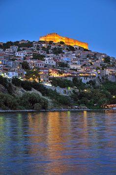 Molyvos Village during dusk in Lesvos Island_ Greece
