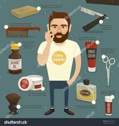Bearded man infographics / Lumbersexual / Lumberjack