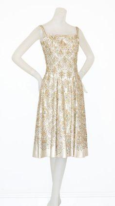 Finely Beaded 1950s Italian Silk Cocktail Dress image 7
