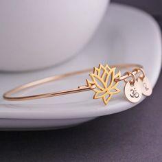 Gold Lotus Bangle Bracelet, Yoga Jewelry from georgie designs personalized jewelry