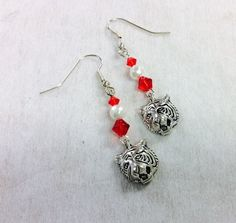 Handcrafted Red and White Tiger Earrings