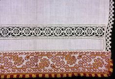 Italy    Cover, Probably 1601/50    Linen, plain weave; drawn work embroidered with silk and linen in hem and overcast stitches; embroidered in double running and stem stitches; insert and edge of linen, bobbin straight lace; edged with silk, plain weave extended weft fringe  132.5 x 64 cm (52 1/8 x 25 1/8 in.)