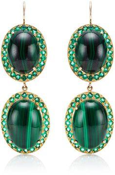 Andrea Fohrman Oval Malachite Earrings