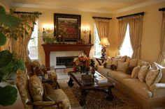 Classic Living Room Decorating Ideas Using Beige Wall Use Windows And Picture Frame Also Ignition That Have Seat Sofa Soft Sponge Fabric Decoration And Dark Brown Wood Use Gloss Countertops Designs And Carpeted Flooring Decorations. .