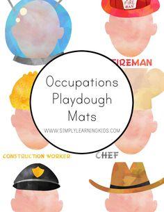 Free Community Helpers Playdough Mats!