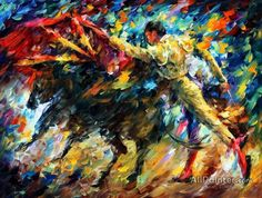 The official online art gallery of Leonid Afremov. Here you can buy original oil paintings directly from the world renown artist. CORRIDA IN ONE BREATH, pallet knife painting Popular Paintings, Canvas Prints, Art Prints, Canvas Art, Canvas Size, Oil Painting Reproductions, Oil Painting On Canvas, Painting Art, Tiger Painting