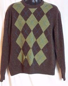 Orvis Men's Multi-Color Argyle 100% Lambs wool Crew neck sweater size L #Orvis…