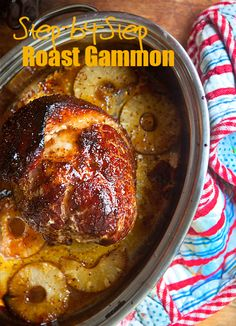 Easy Step by Step Roast Gammon recipe with honey mustard glaze Honey Glazed Gammon, Baked Gammon, Baked Ham, Honey Roast Gammon, Honey Recipes, Pork Recipes, Slow Cooker Recipes, Cooking Recipes, Recipies