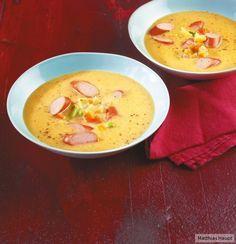 Ziemlich schnell gekocht ist unsere Gemüsecremesuppe mit Wiener: Nach nur 35 Minuten ist das Süppchen bereit zum Löffeln.