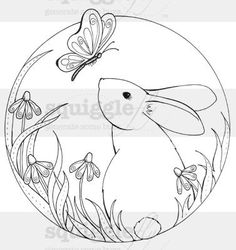 """""""Sweet Bunny"""" digi stamp by Diana Garrison available at Squigglefly.com"""