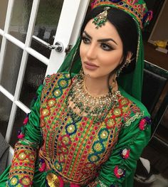 #afghan #style #cloths #dress #afghani #Afghanistan #fashion #nationaldress #girl #makeup #wedding