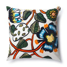 Erja Hirvi's design on the Marimekko Tiara Multicolor Throw Pillow is reminiscent of vintage florals but feels refreshingly modern. The 100% cotton cover is easily removed from the complimentary insert