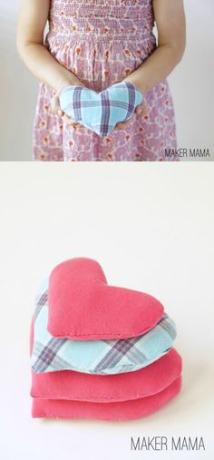 My favorite way to help with boo boos are these heart DIY hot and cold packs. Made from upcycled shirts and rice, they're an easy way to soothe kids.