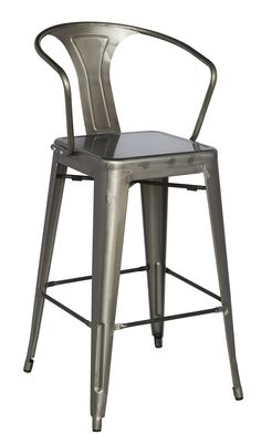 Galvanized steel bar stool for indoor and outdoor use. Approved for commercial use. - Materials: Steel - Color/Finish: Gun Metal - Assembly is required includes Dimensions Weight (total) Four (4) Bar
