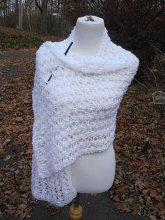 Wedding Bridal White Handmade Wrap Knit Shawl (70.00 USD) by PoppyLesti