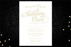 Wedding invitation with romantic gold script font