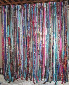 BOHO Gypsy Hippie Garland Curtain Room Divider Dorm Shower Backdrop Door Teen Rag Up-Cycled by TheLaurelCottage on Etsy https://www.etsy.com/listing/241727443/boho-gypsy-hippie-garland-curtain-room