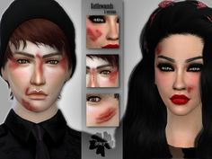 Battlewounds set contains 5 versions for female & male  Found in TSR Category 'Sims 4 Female Skin Details'