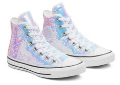Converse Womens Mini Sequins Chuck Taylor All Star High Top Converse Shoes Outfit, Sequin Converse, Converse Wedding Shoes, New Converse, Custom Converse, All Star, Top Pas Cher, High Tops, Kawaii Shoes