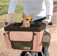 Shabby Chic Pet Couture Pink Dog Bike Carrier.