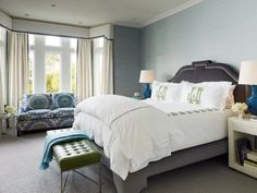 Palmer Weiss Design | Traditional Master Bedroom | Window Cornice | Monogrammed Bedding | Bedroom Sofa Print