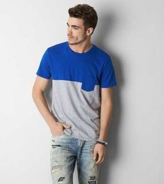 AEO Colorblock Pocket T-Shirt - Buy One Get One 50% Off + Free Shipping
