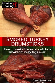 When smoked turkey legs come out of the meat smoker, the feasting begins! Enjoy smoky turkey drumsticks as a snack or for great smoked turkey sandwiches. Smoked Turkey Legs Recipe Oven, Wild Turkey Leg Recipe, Turkey Drumstick Recipe, Smoked Turkey Wings, Turkey Leg Recipes, Drumstick Recipes, Smoked Meat Recipes, Traeger Recipes, Sausage Recipes