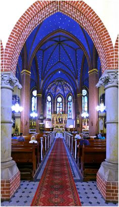 I was in this amazing church 2 years ago when visiting my newly found family.  This is in Szczecin, Poland.  The colors are amazing, especially the blue with the gold stars.