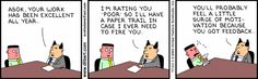 Dilbert on performance review rating of poor and motivation