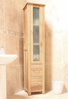 baumhaus mobel oak closed bathroom unit tall superb contemporary design made from selected solid oak this slender bathroom cupboard has been designed to
