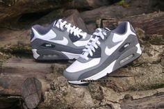 Chaussures Nike Officiel Pas Cher Pour Femme Nike Air Max 90 Gris - Blanc