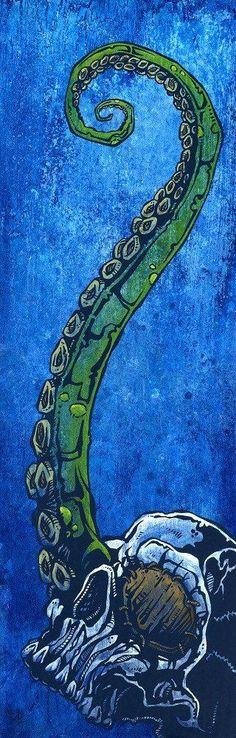 Troubled Waters David Lozeau Skull Octopus Tentacle Giclee Art Print – moodswingsonthenet