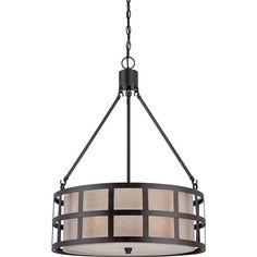 Metal and Linen Cage Drum Pendant