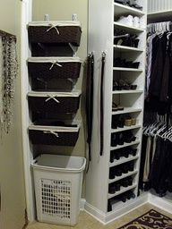 Use cute baskets wall mounting brackets for extra storage. Good idea for swimsuits, leggings, etc.