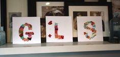 monogram craft for kids with fabric scraps