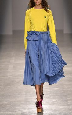 Pleated Skirt with Ruffle Detail by ROCHAS Now Available on Moda Operandi