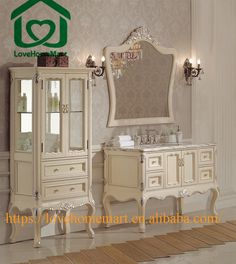Picture Gallery For Website FoShan Antique White Bathroom Vanities Solid Wood Cabinet inside shower cabins
