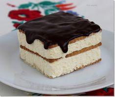 Gizi-receptjei: Kekszes madártej szelet. (sütés nélküli) Hungarian Cake, Vanilla Cake, Christmas Cookies, Tiramisu, Breakfast Recipes, Cheesecake, Sweets, Hungary, Ethnic Recipes