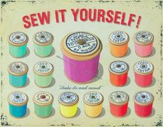 The Sew It Yourself Thread Spools Sign lets crafters express their love for their favorite hobby. Vintage style reproduction sign is 16 x made of steel. My Sewing Room, Sewing Art, Sewing Rooms, Love Sewing, Sewing Crafts, Sewing Projects, Vintage Sewing Notions, Vintage Sewing Machines, Sewing Quotes