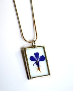 Real Flower Necklace Stained Glass Jewelry with by BayouGlassArts, $32.00