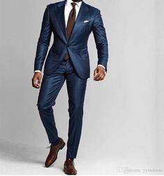 Dark Blue Mens Suits 2019 Slim Fit One Button Beach Groomsmen Wedding Tuxedos For Men Peaked Lapel Formal Prom Suit (Jacket Pants Tie) - suits - Formal Prom Suits, Prom Suits For Men, Mens Tux, Mens Suits, Dark Blue Mens Suit, Prom Suit Jackets, Moda Formal, Suit Combinations, Tuxedo For Men