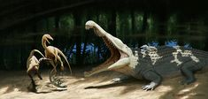 Coelophyses vs redondasaur by Apsaravis.deviantart.com on @deviantART
