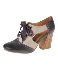 Another great find on #zulily! Black & Taupe Monkees Leather Pump #zulilyfinds