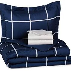 Bed-In-A-Bag - Twin/Twin Extra-Long, Navy Simple Plaid. off Prime for college students!
